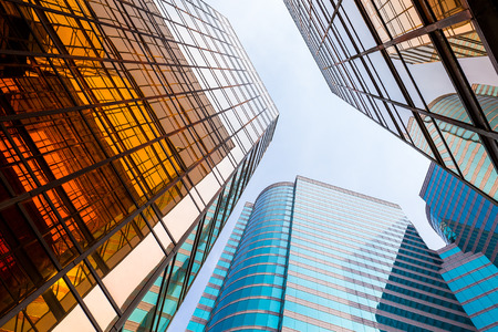 vanishing point: Modern office building to the sky Stock Photo