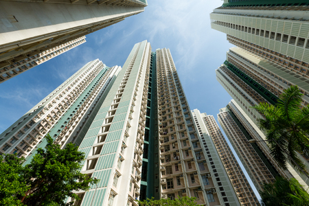 overpopulated: Apartment building at the sky Stock Photo