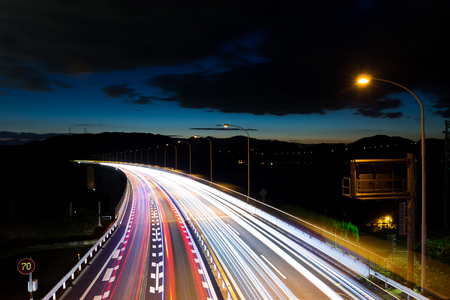 Speed Traffic on highway at night