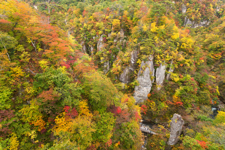 Naruko Gorge Valley with colorful foliage Stock Photo