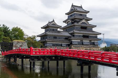 Matsumoto Castle and bridge in Japan Stock Photo