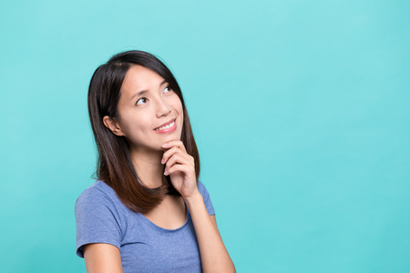 thinking woman: Woman thinking something Stock Photo