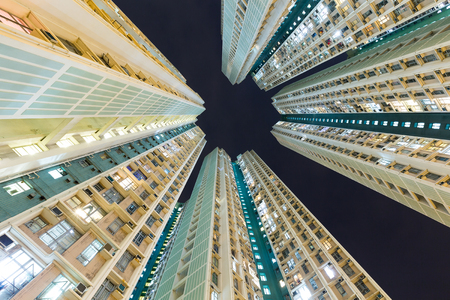 overpopulated: Skyscraper to the sky at night