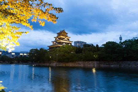 Japanese Hiroshima castle at night Editorial