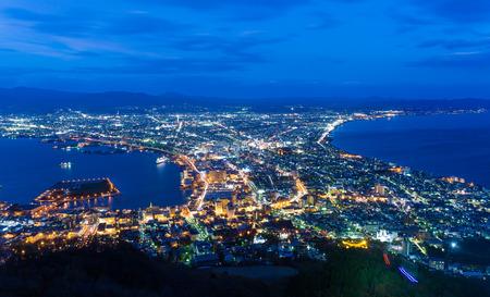 Skyline van Hakodate in de nacht