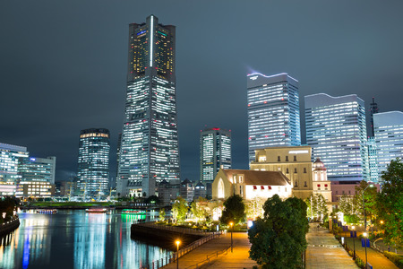Cityscape in Japan at night Stock Photo