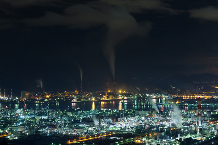 Mizushima coastal industrial area in Japan at night