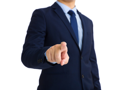 front of: Businessman finger pointing front