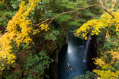 Takachiho gorge at Miyazaki in autumn season Stock Photo