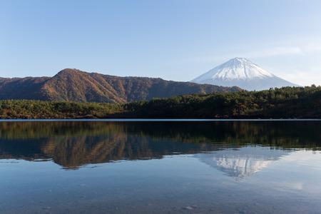 saiko: Mountain Fuji and lake saiko Stock Photo