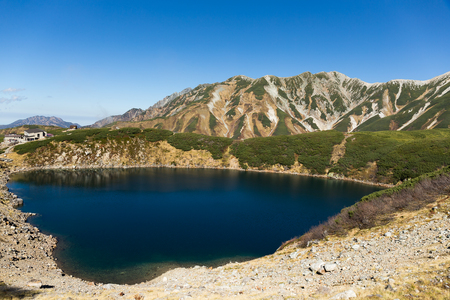 Mikurigaike pond in the Tateyama mountain range in Toyama