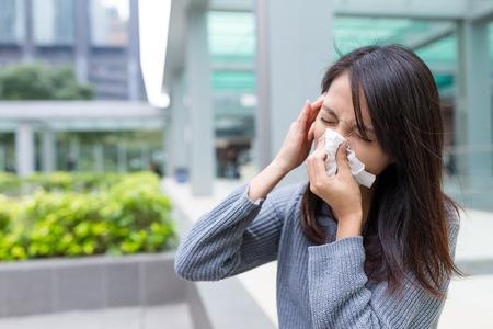 Woman feeling sick Stock Photo
