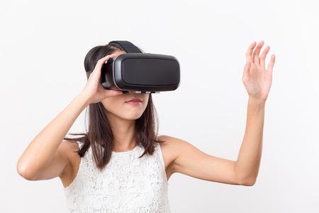 Woman wearing virtual reality device
