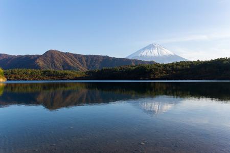 saiko: Lake saiko and mountain Fuji Stock Photo