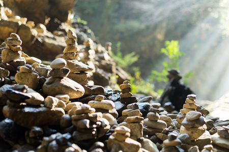 japanese people: Stack of stone Stock Photo