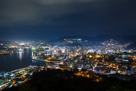 nagasaki: Nagasaki city at night Stock Photo