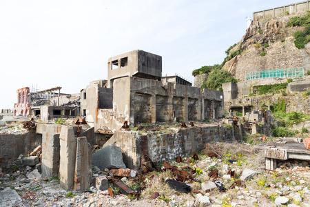 Abandoned Battleship island in Nagasaki city of Japan