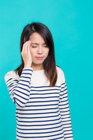Woman feeling haedache Stock Photo