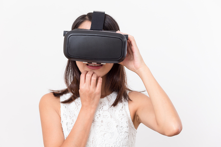 terrifying: Woman watching with VR and feeling scary Stock Photo