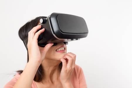 terrifying: Woman using VR device