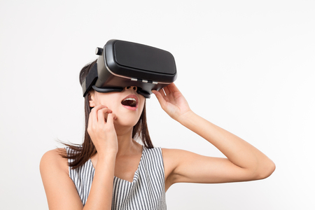 Woman feeling scary with using VR device