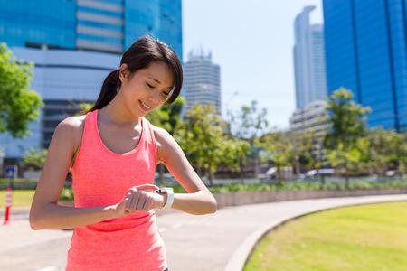 Sport woman use of smart watch