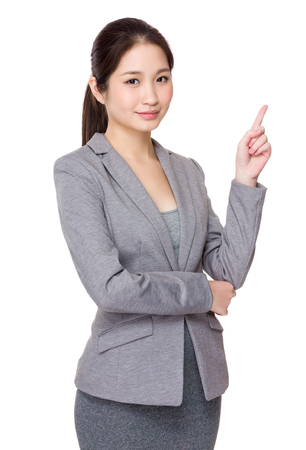 Young Businesswoman showing finger up Stock Photo