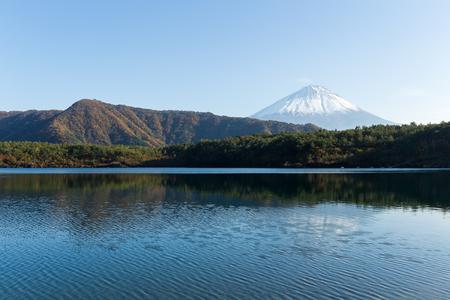 saiko: Lake saiko and mount Fuji Stock Photo