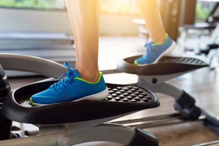 Training on Elliptical machine Stock Photo