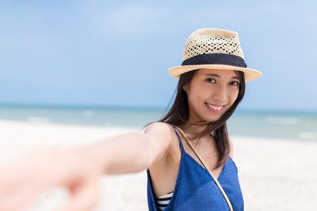 Follow me to the beautiful beach Stock Photo
