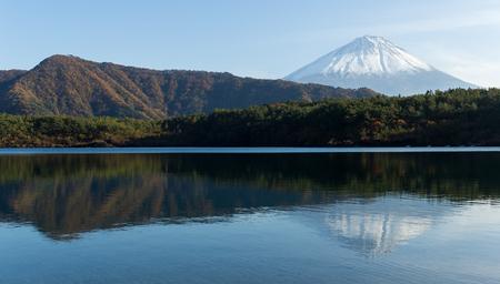 saiko: Mount Fuji and Lake saiko Stock Photo