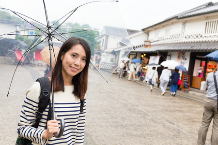 Young woman travel in japan with raining Stock Photo