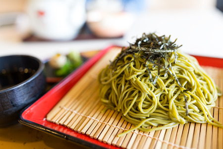 Green tea soba Stock Photo