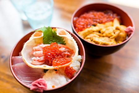 Japanese seafood rice bowl Stock Photo