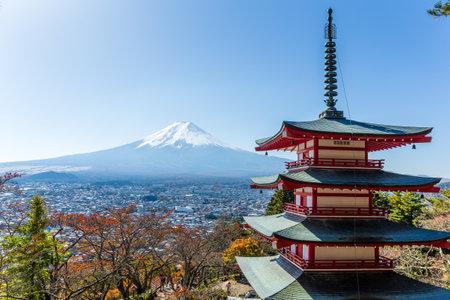 Mt. Fuji viewed from behind Chureito Pagoda Editorial