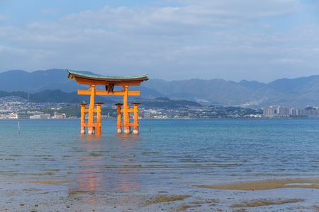 Giant floating Shinto torii gate of the Itsukushima Shrine