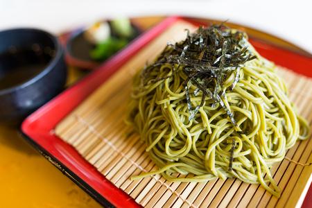 Green tea soba Stock Photo