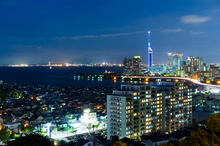 Fukuoka skyline at night