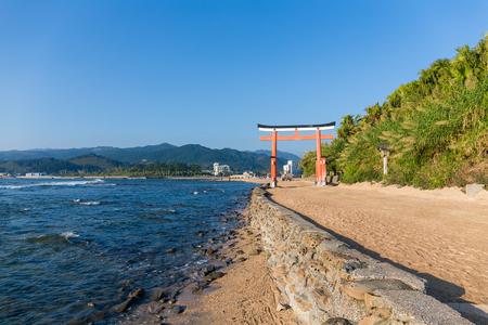 Red torii in Aoshima Shrine