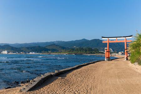 Aoshima Shrine with blue sky Stock Photo