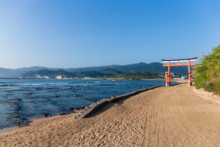 Red torii in Aoshima Shrine of Japan Stock Photo