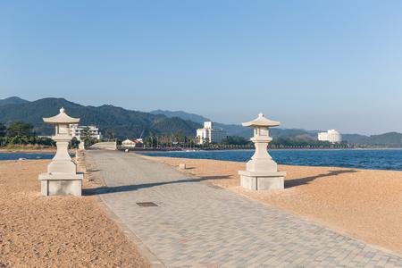 Aoshima Shrine and sead beach Stock Photo