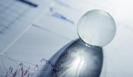 Stock market chart and Glass globe