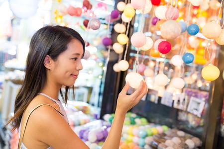 Woman shopping in street market
