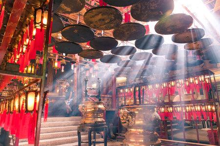 hope indoors luck: Central, Hong Kong, 10 May 2017 -: Interior lanterns of the Man Mo Temple in Hong kong