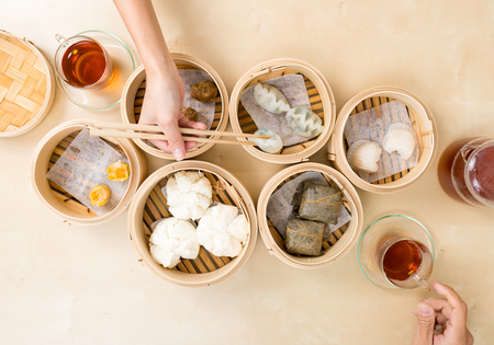 Top view of eating with dim sum
