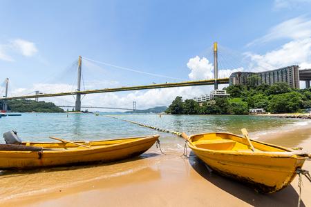Ting Kau bridge and boat Stock Photo