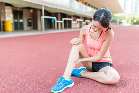 Woman having injury on legs