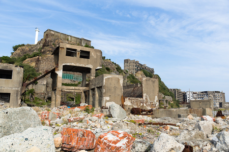 Hashima Island in Nagasaki city Stock Photo