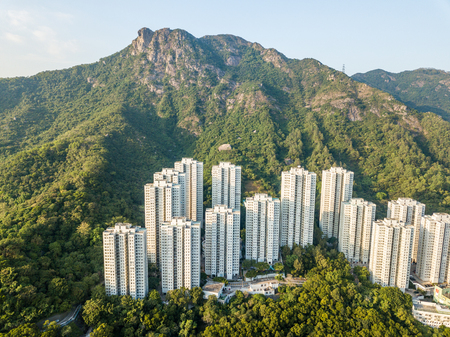 Lion rock mountain and building block in Hong Kong  Stock Photo